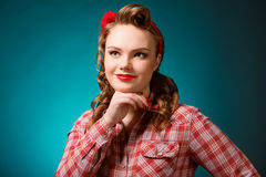 Pretty pinup girl in retro vintage 50`s style Royalty Free Stock Image