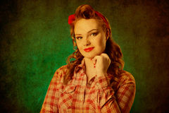 Pretty pinup girl in retro vintage 50`s style Stock Photography