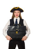 Pretty pirate girl holding bag isolated on white Royalty Free Stock Images