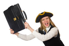 Pretty pirate girl holding bag isolated on white Stock Image