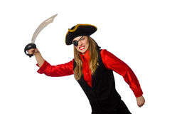 Pretty pirate girl holding sword isolated on white Stock Image