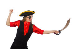 Pretty pirate girl holding sword isolated on white Royalty Free Stock Images