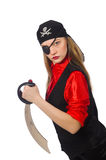 Pretty pirate girl holding sword isolated on white Stock Photography