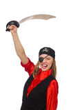 Pretty pirate girl holding sword isolated on white Stock Photo