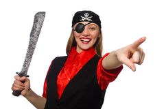 Pretty pirate girl holding sword isolated on white Royalty Free Stock Photography