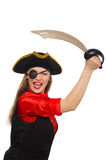 Pretty pirate girl holding sword isolated on white Royalty Free Stock Photo