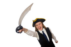 Pretty pirate girl holding sword isolated on white Royalty Free Stock Image