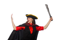 Pretty pirate girl holding sword isolated on white Stock Images