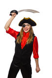 Pretty pirate girl holding sword. The pretty pirate girl holding sword isolated on white Stock Photography