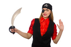 Pretty pirate girl holding sword Stock Images