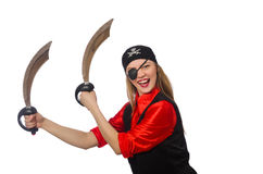 Pretty pirate girl holding sword Royalty Free Stock Photo