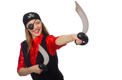 Pretty pirate girl holding sword Royalty Free Stock Images