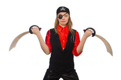 Pretty pirate girl holding sword. The pretty pirate girl holding sword isolated on white Royalty Free Stock Photography