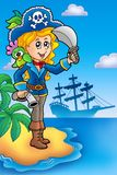 Pretty pirate girl on island Royalty Free Stock Images