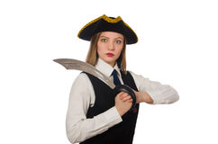 Pretty pirate girl isolated on white Royalty Free Stock Image