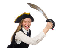 Pretty pirate girl. The pretty pirate girl isolated on white Stock Images