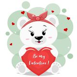 A sweet polar bearin a red bow sits and holds in its paws a red heart with an inscription, in the style of cartoons. A pretty polar bear in a red bow , sitting Stock Photos