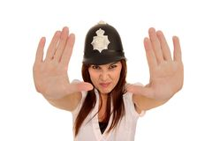 Pretty Policewoman with Angry Look Royalty Free Stock Photo