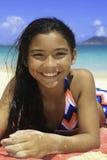 Pretty polynesian girl at the beach. Portrait of a pretty polynesian girl at the beach in hawaii Stock Photo