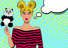 Pretty pop art girl with balloon stock photography
