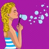 Pretty pop art girl blowes soap bubbles. Soap bubbles. Pop art vector illustration royalty free illustration