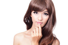 Pretty portrait face and hand touching lips Stock Images