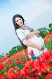 Pretty pregnant brunette young woman Royalty Free Stock Photo
