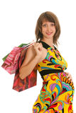 Pretty pregnant lady with shopping Stock Image