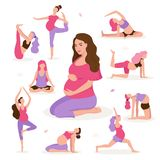 Pretty pregnant woman doing yoga, having healthy lifestyle and relaxation, exercises for pregnant women vector flat royalty free illustration