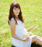 Pretty pregnant woman with flowers on the grass Stock Photos