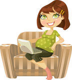 Pretty pregnant woman with laptop in armchair royalty free stock photos
