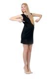 Pretty pregnant woman in mini black dress isolated Stock Image
