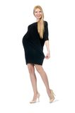 Pretty pregnant woman in mini black dress isolated Royalty Free Stock Images