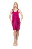 Pretty pregnant woman in pink dress isolated on Royalty Free Stock Photos
