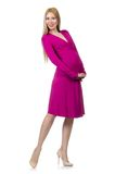 Pretty pregnant woman in pink dress isolated on Stock Image