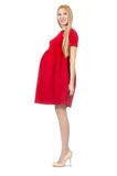 Pretty pregnant woman in red dress isolated on Stock Photos