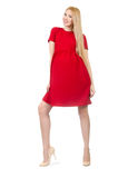 Pretty pregnant woman in red dress isolated on the Royalty Free Stock Images