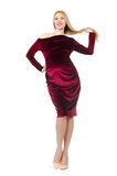 Pretty pregnant woman in red dress isolated on Royalty Free Stock Photos