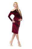 Pretty pregnant woman in red dress Royalty Free Stock Images