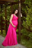 Pretty pregnant woman wearing in pink dress at green park Stock Photo
