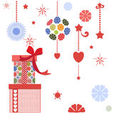 Pretty presents and graphic elements Royalty Free Stock Photos
