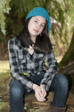 Pretty Preteen Girl. Young preteen girl wearing a flannel shirt Royalty Free Stock Photos