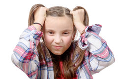Pretty preteen girl angry. Pretty preteen girl  angry, isolated on white background Stock Images