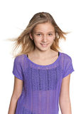 Pretty preteen girl. A portrait of a pretty preteen girl against the white background Stock Photography