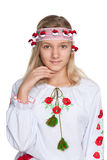 Pretty preteen Ukrainian girl. A pretty preteen Ukrainian girl against the white background Stock Photography