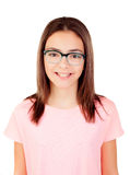 Pretty preteenager girl with glasses Royalty Free Stock Image