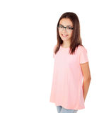 Pretty preteenager girl with glasses Stock Images