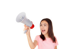 Pretty preteenager girl with a megaphone Stock Photo