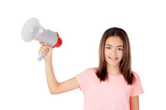 Pretty preteenager girl with a megaphone Royalty Free Stock Image