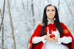 Beautiful Snow White Princess in Winter Fairy Tale Wonderland Royalty Free Stock Photo
